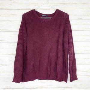 Brandy Melville | Maroon Chunky Knit Sweater